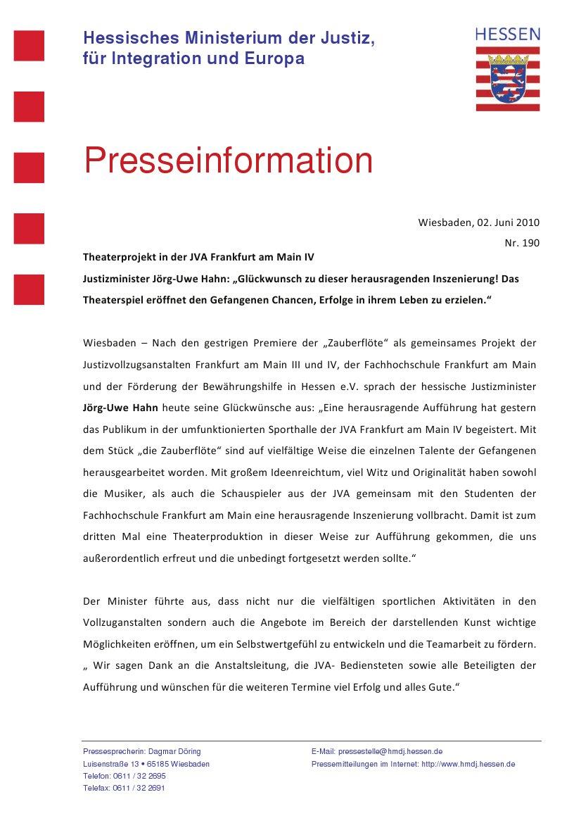 Presseinformation des Hessischen Ministeriums der Justiz, Integration und Europa