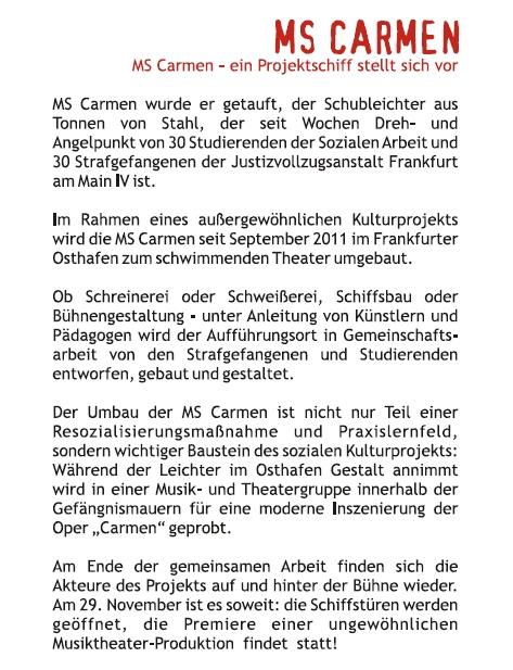 """""""MS Carmen"""" – Das Musik-Theater-Bauprojekt"""